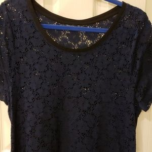 Navy Blue Lace/Sheer Shortsleeve Blouse